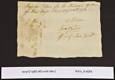 Provision Return for the Main Guard Signed by John Wandin for Prisoners of War, 08/27/1778
