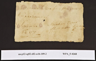 Provision Return for the Main Guard Signed by Abraham Jones for Prisoners of War, 09/01/1778