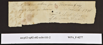 Provision Return for the Main Guard Signed by Fred Shick for Two Prisoners of War, 09/02/1778