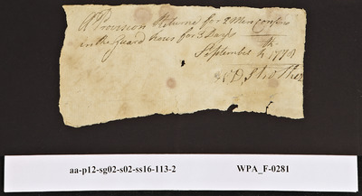 Provision Return for the Main Guard Signed by William Strother for Two Men Confined in the Guard House, 09/04/1778
