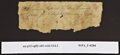 Provision Return for the Main Guard Signed by William Strother for Two Prisoners of War, 09/04/1778