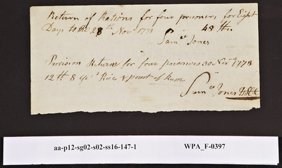 Provision Return for the [Main Guard] Signed by Samuel Jones for Four Prisoners for Eight Days, 11/28/1778