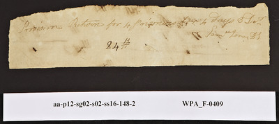 Provision Return for the [Main Guard] Signed by Samuel Jones for Prisoners, 12/03/1778