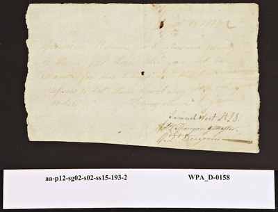 Provision Return for the Light Dragoons Signed by Robert Thompson and Samuel West for Three [Prisoners] (Slightly Illegible), 08/18/1778