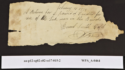 Provision Return for the Sick in the Barracks Signed by Burrel Smith for Candles for Two Men, 02/10/1778