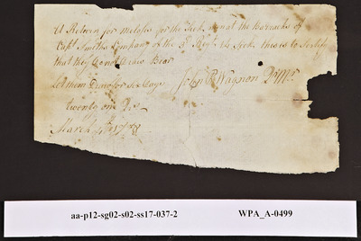 Provision Return for the Sick of the 3rd Regiment Signed by John Peter Wagon for the Barracks of Capt. Smith's Company, 03/04/1778