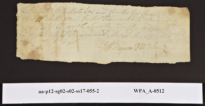 Provision Return for the Sick of the 3rd Regiment Signed by John Peter Wagon for the Barracks of Burrell Smith's Company, 03/17/1778