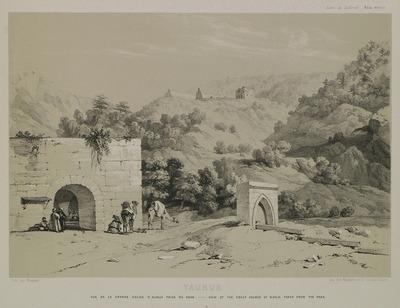 The ruins of a church on Alaca plateau, Erdemli, seen from the local inn.