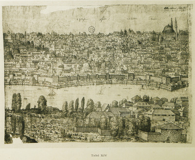 Part of the panoramic view of Istanbul: the western shore of the Golden Horn.