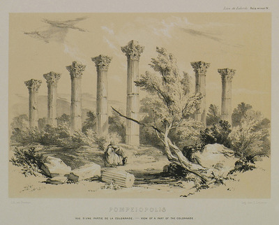 The remaining part of the colonnade in Soloi of Cilicia (later Pompeiopolis), seen from the theatre. The columns framed the way leading from the city to the port.