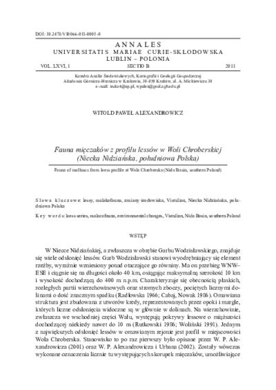 Fauna mięczaków z profilu lessów w Woli Chroberskiej (Niecka Nidziańska, południowa Polska)