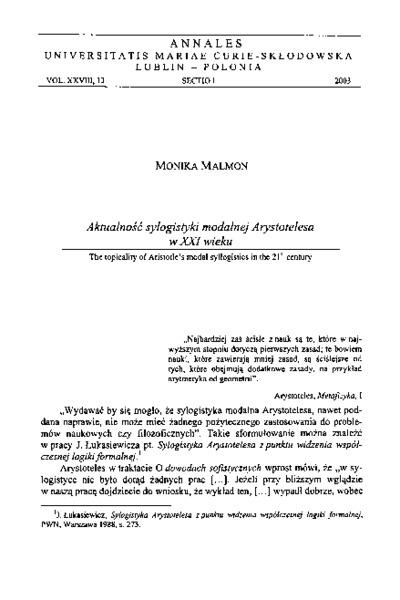 Aktualność sylogistyki modalnej Arystotelesa w XXI wieku
