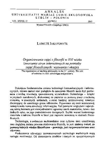 Organizowanie zajęć z filozofii w XXI wieku (tworzenie stron internetowych na potrzeby zajęć filozoficznych: wyzwania i okazje)