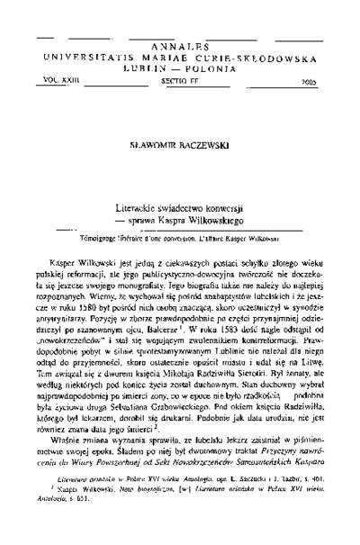 Literackie świadectwo konwersji - sprawa Kaspra Wilkowskiego