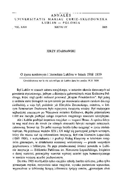 O życiu naukowym i literackim Lublina w latach 1918-1939