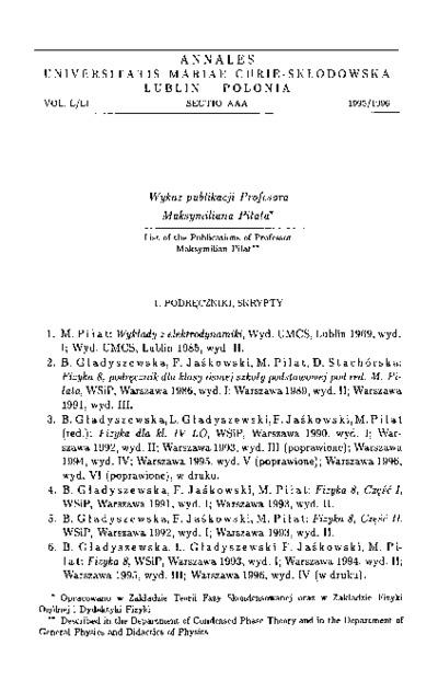 Wykaz publikacji Profesora Maksymiliana Piłata
