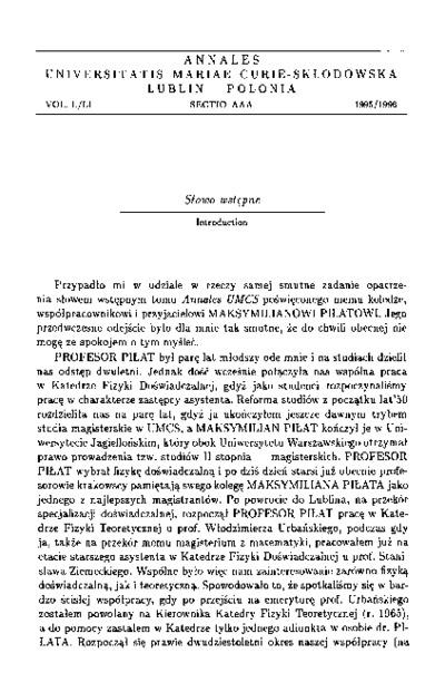 Annales Universitatis Mariae Curie-Skłodowska, Sectio AAA, Physica Vol. 50/51 (1995/1996). Słowo wstępne