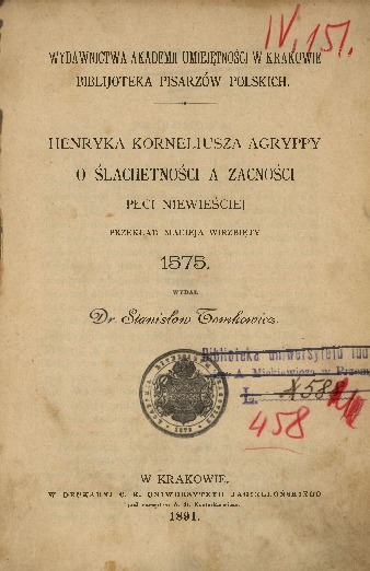 Henryka Korneliusza Agryppy O ślachetności a zacności płci niewieściej