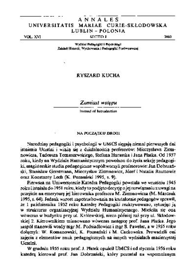 Annales Universitatis Mariae Curie-Skłodowska. Sectio J, Paedagogia-Psychologia. Vol. 16 (2003) - Zamiast wstępu