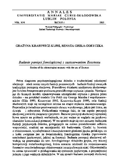 Badanie pamięci fonologicznej z zastosowaniem Zetotestu