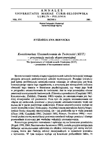 Kwestionariusz Ustosunkowania do Twórczości (KUT )- prezentacja metody eksperymentalnej