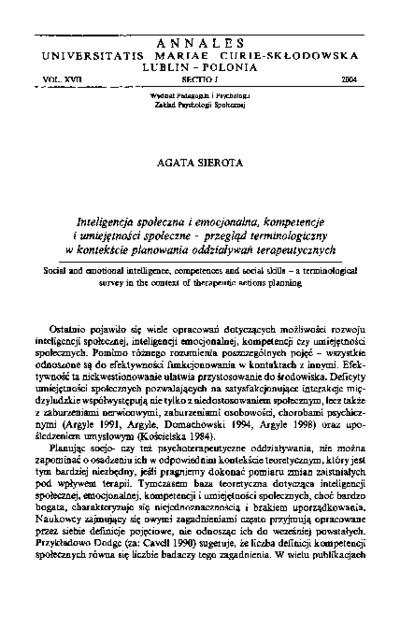 Inteligencja społeczna i emocjonalna, kompetencje i umiejętności społeczne - przegląd terminologiczny w kontekście planowania oddziaływań terapeutycznych
