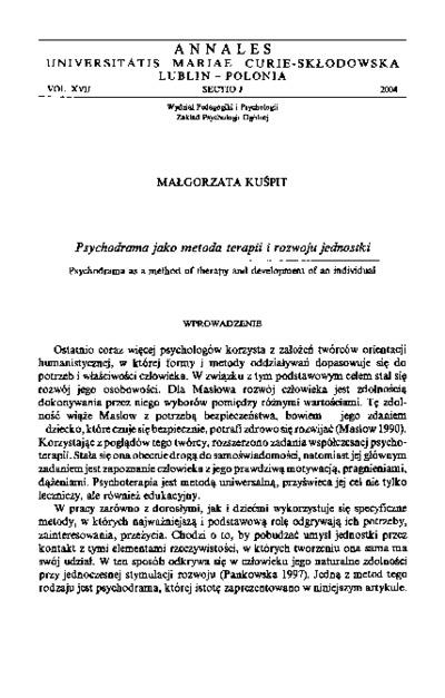Psychodrama jako metoda terapii i rozwoju jednostki