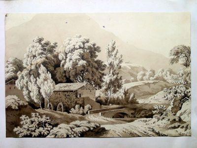 Paesaggio con mulino e ponte