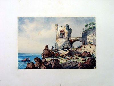 Torrione fortificato su scogliera in riva al mare