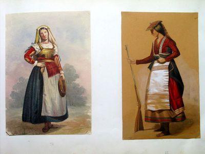 Donna in costumi popolari con tamburello