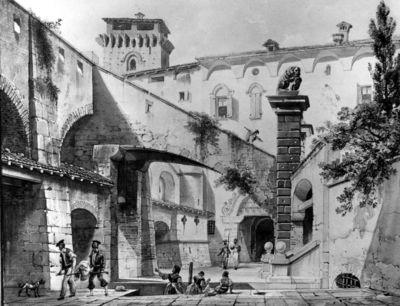 Veduta di corte nelle adiacenze del castello di Sant'Angelo nel Lodigiano