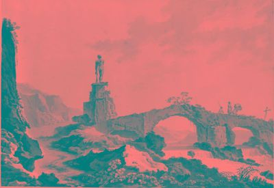 Vecchio ponte diroccato, rovina con statua di Ercole