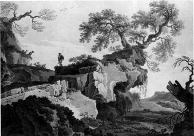 Pastore tra i dirupi sopra una vallata