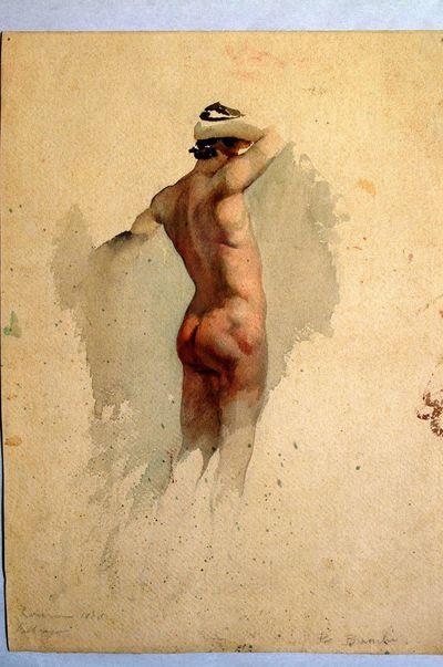 Studio di nudo maschile visto da tergo