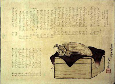 Scatola di legno con furoshiki e legno aromatico