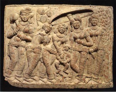 Placca con scena figurata (nascita del Buddha?)