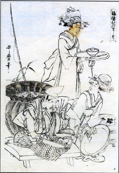 Ebisu/ divinita' protettrice dei pescatori/ con due bellezze in una locanda