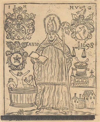 H. Marcoen abt. bijzonderen patroon tegen verscheidene kwalen of wonden, bid voor ons. Onderschrift gedrukt onder eene afbeelding van St. Nicolaas. Het oorspronkelijk onderschrift S. Nicolae ora pro nobis is overgedrukt. De afbeelding uit het jaar 1698, met drie wapens dat der stad en twee familiewapens. [Houtsnede], 15,5 x 10.