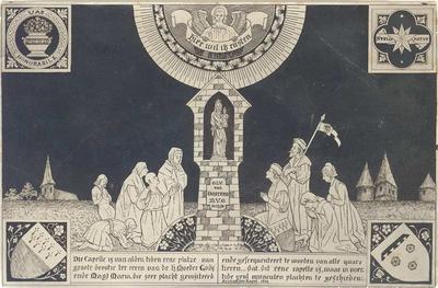 Devotieprent van O.L. Vrouw van Oostrum. Fotografie [van een tekening]. 8 x 12,5.