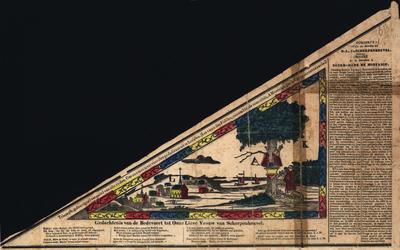 Processievaantje van O.L. Vrouw van Scherpenheuvel. Gedrukt en ingekleurd. Driehoekig.