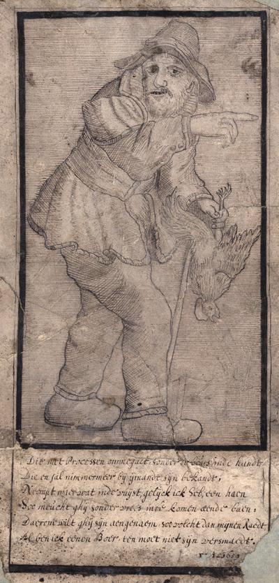 Een boer met haan in zijn hand. Met 6-regelig onderschrift, pen in zwart. 31 x 14.