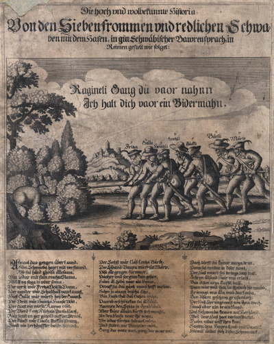 Die hoch und wohlbekannte Historia van den sieben frommen en redlichen Schwaben met dem Hasen, in gut Schwäbischen Bauernsprach in Reimen gestelt wie folget... Zeven Zwaben die een haas met een lans aanvallen. Gravure 28 x 22.