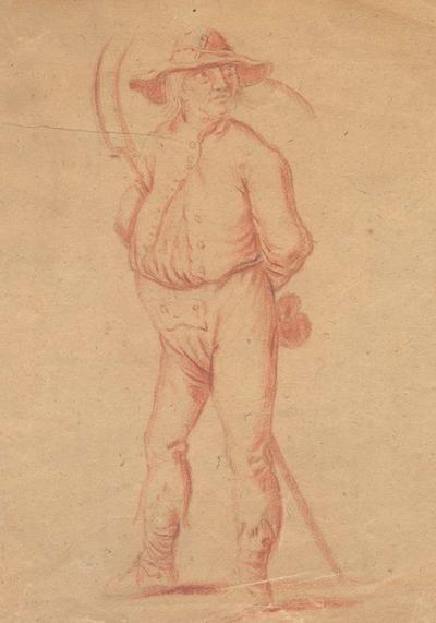 Afbeelding van een boer. [17e of 18e eeuw]. Tekening in rood. 18 x 15,5.