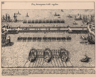 De Spaansch-Nederlandsche oorlog in 30 fotografiën voorgesteld naar de oorspronkelijke koperetsen gegraveerd door W. Baur, Jean Miel en anderen. Ook met Duitse tekst. 30 platen in omslag.