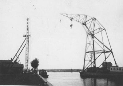 Losse poot voor de laadbrug in de Rietlanden te Amsterdam.
