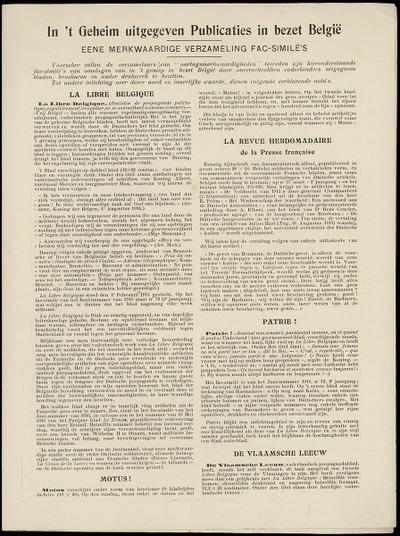 In 't geheim uitgegeven publicaties in bezet België een merkwaardige verzameling fac-similé's