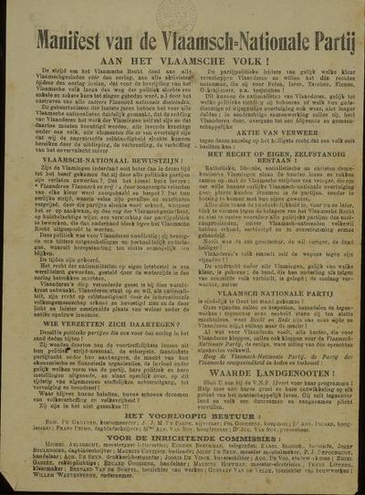 Manifest van de Vlaamsch-Nationale Partij aan het Vlaamsche Volk!