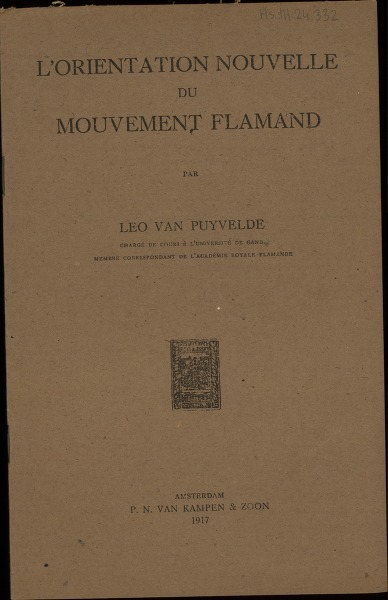 L'Orientation nouvelle du mouvement flamand