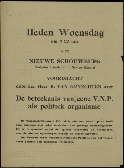 [Uitnodiging voor de voordracht door B. Van Genechten over 'De beteekenis van eene VNP als politiek organisme', ingericht door de Vlaamsch-Nationale Partij]