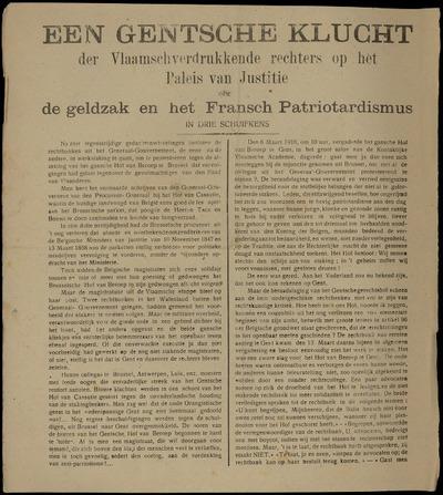 Een Gentsche Klucht der Vlaamschverdrukkende rechters op het Paleis van Justitie ofte de geldzak en het Fransch Patriotardismus in drie schuifkens